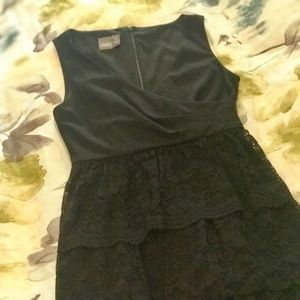 Beautiful wrap bodice dress with lace skirt